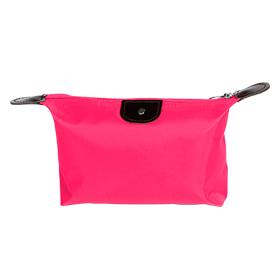 Cosmetiquera con piel en color rosa