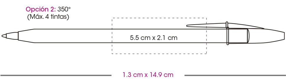 Pluma bic, area de impresión