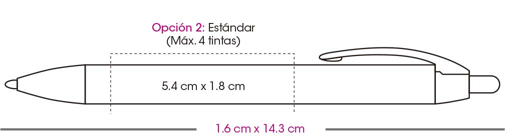Area de impresión pluma bic wide body